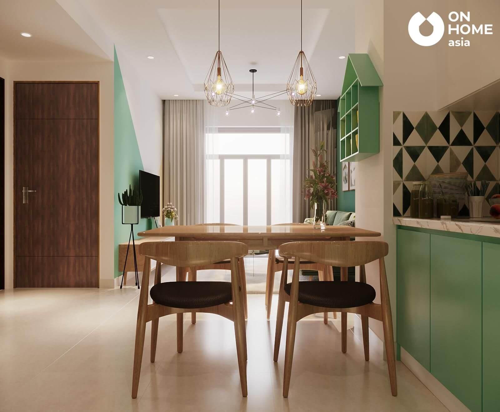 bàn ăn bằng gỗ được thiết kế cho căn hộ the view