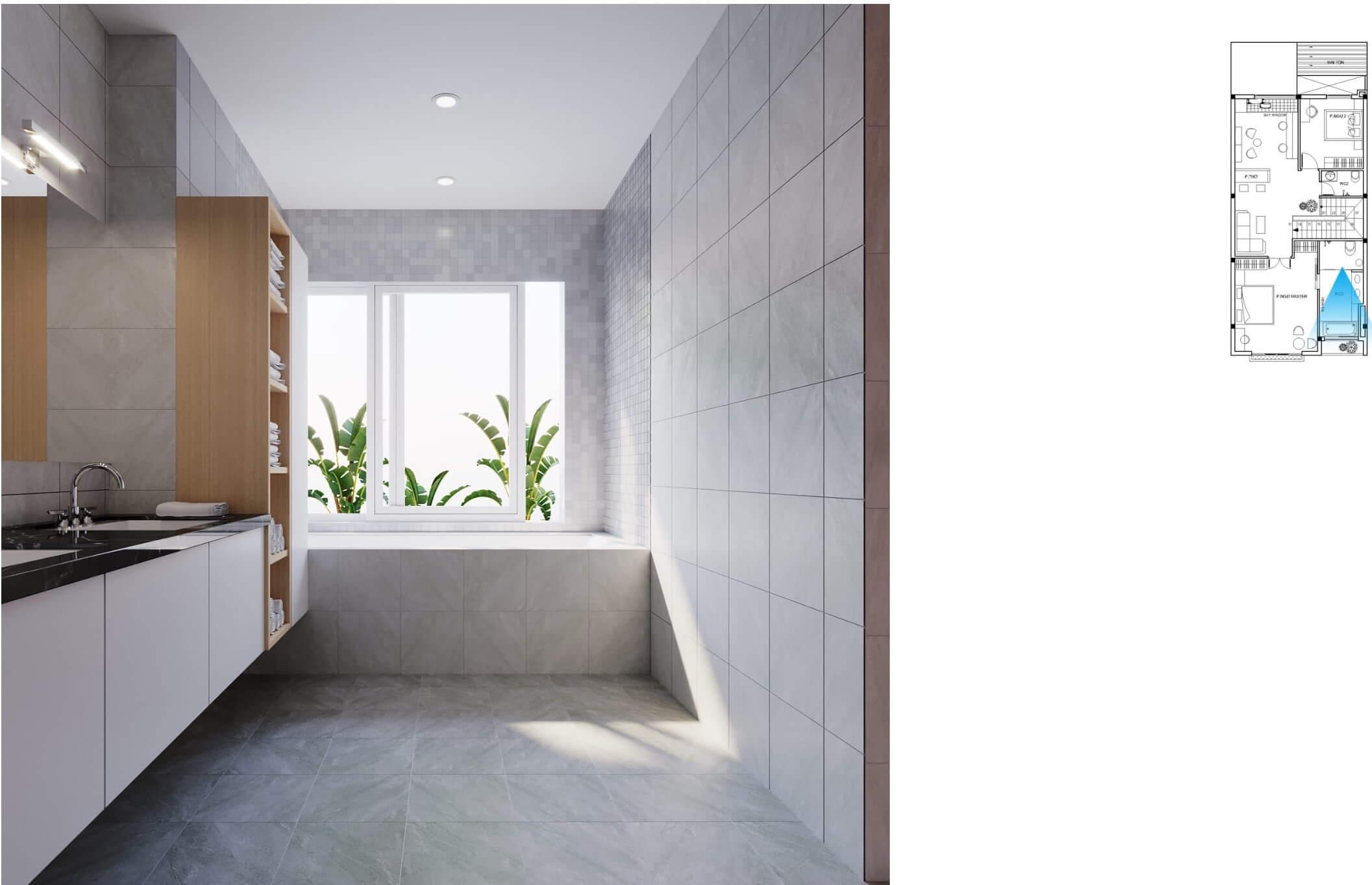 Nhà vệ sinh tràn ngập ánh sáng