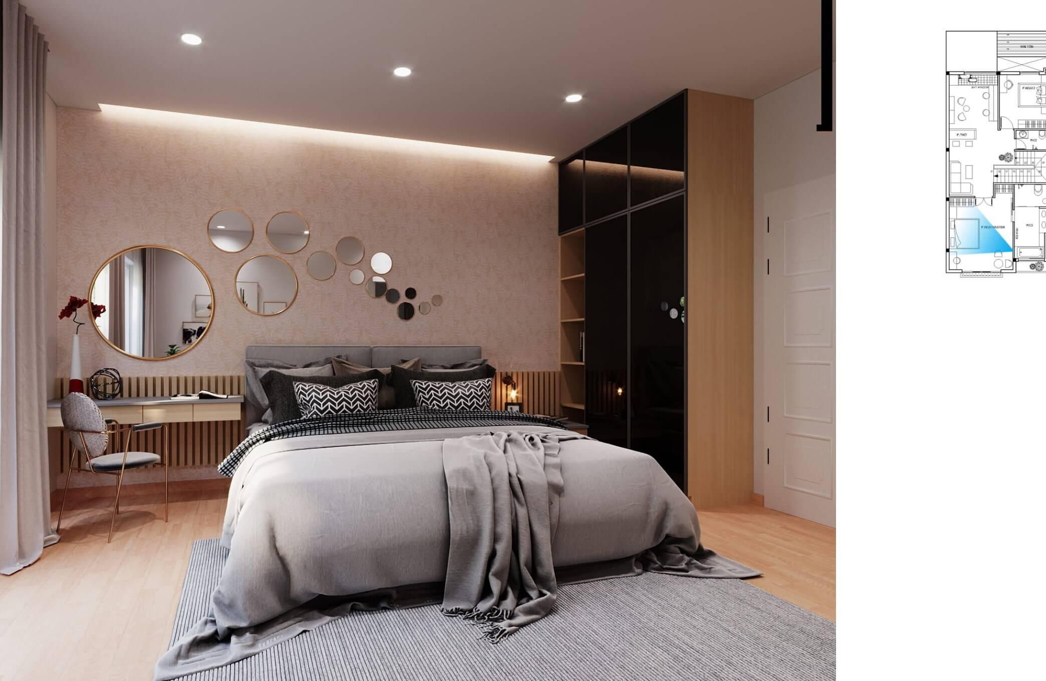 Nội thất phòng ngủ nhà phố hiện đại