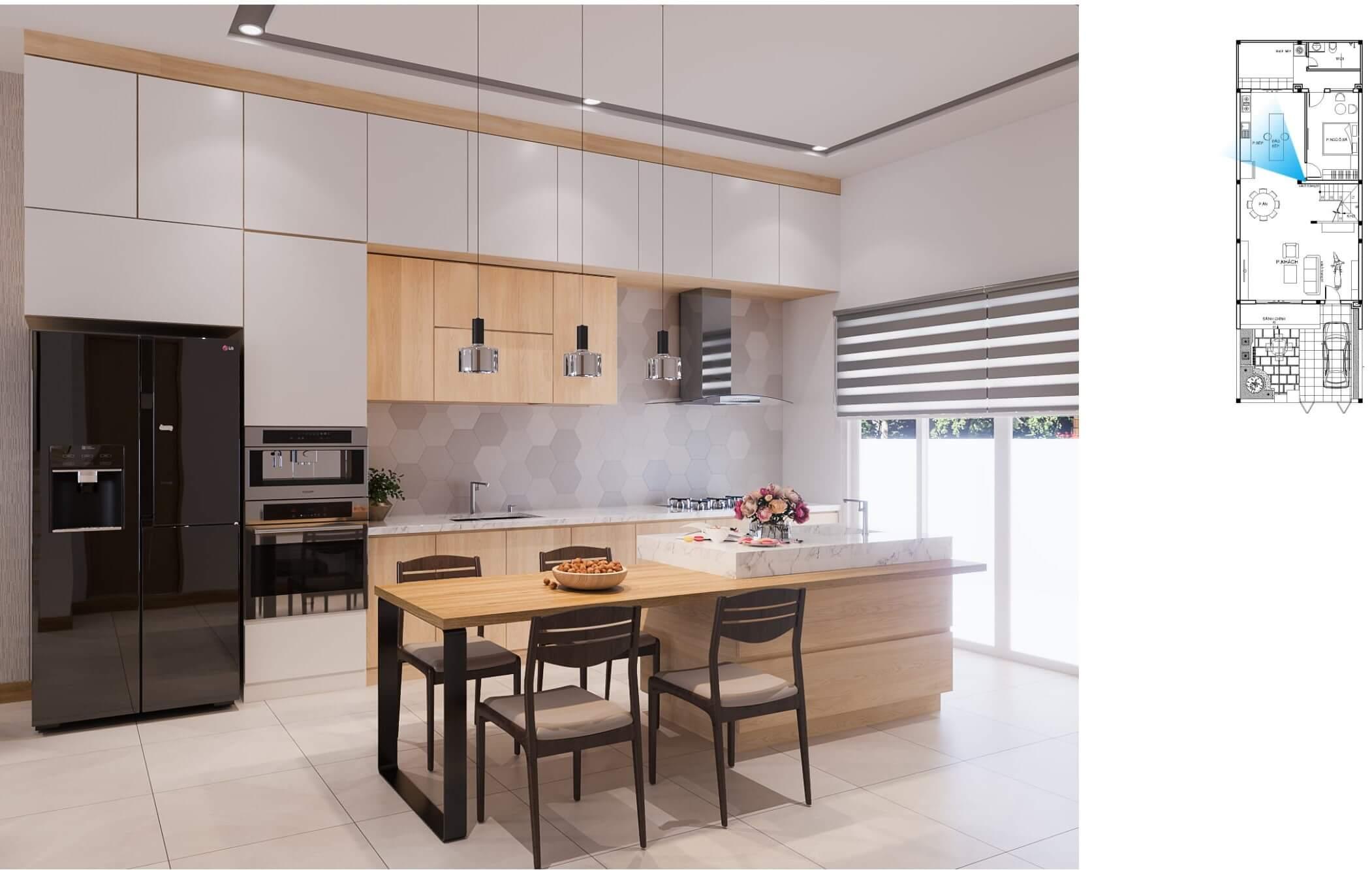 Không gian bếp nhà phố hiện đại