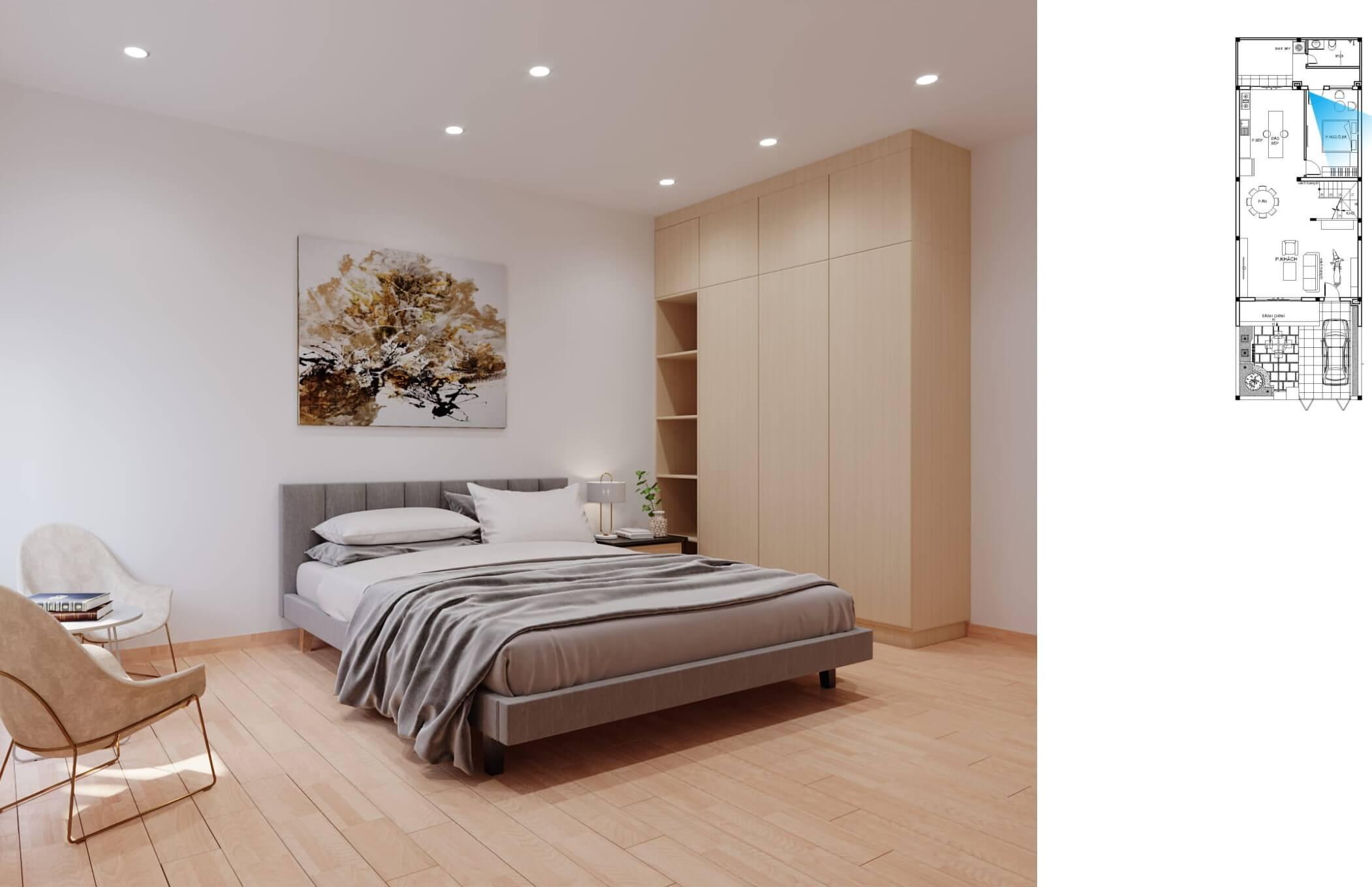 Không gian phòng ngủ nhà phố hiện đại sang trọng