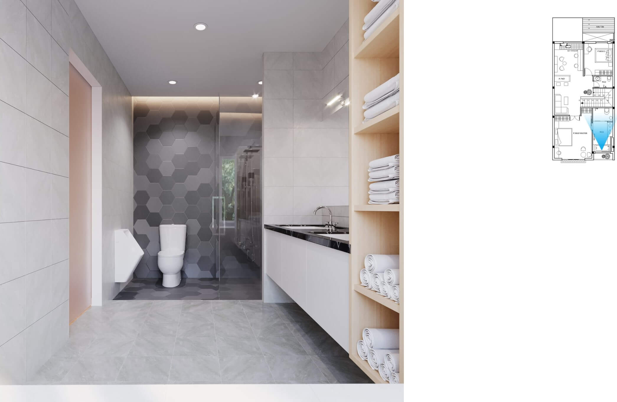 Toilet được thiết kế đơn giản, gọn gàng