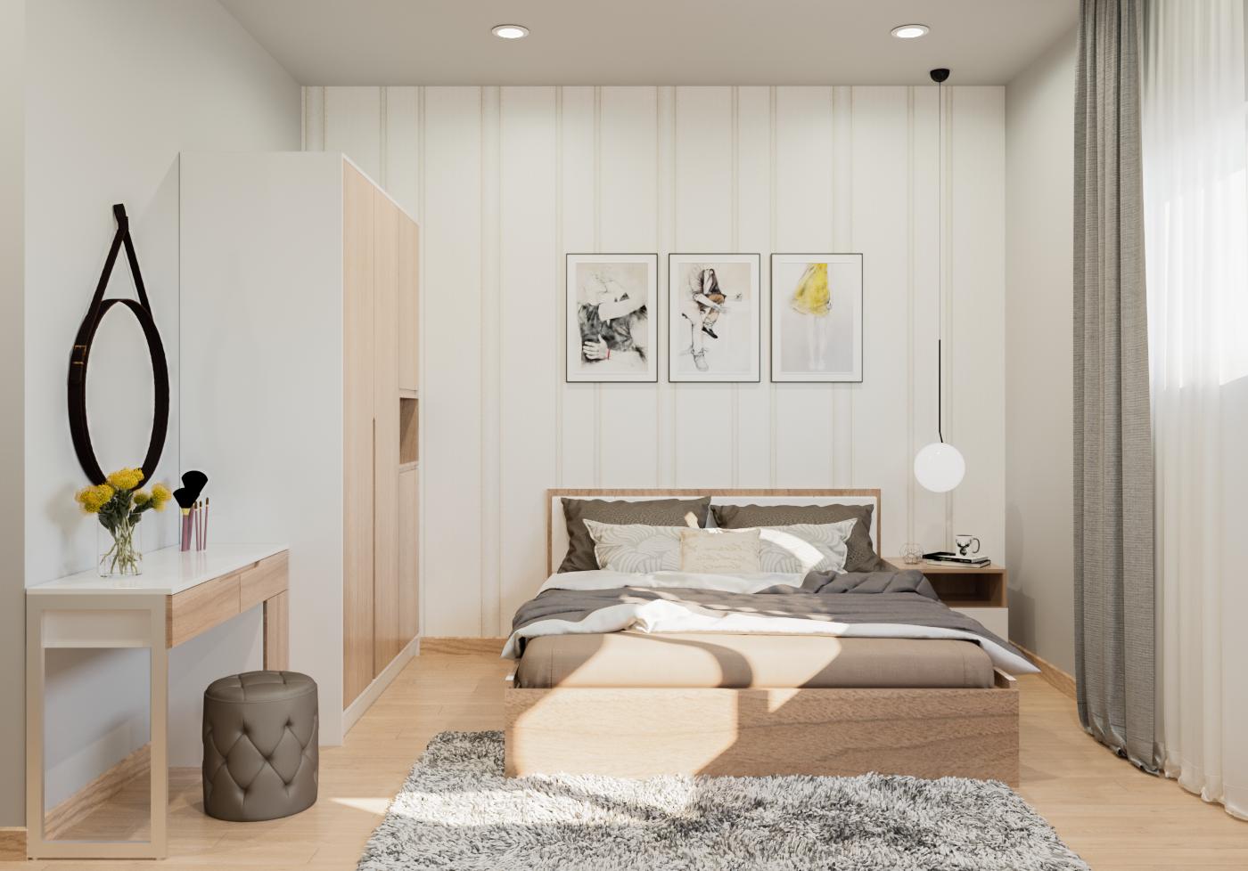 nội thất phòng ngủ căn hộ the habitat 3 phòng ngủ