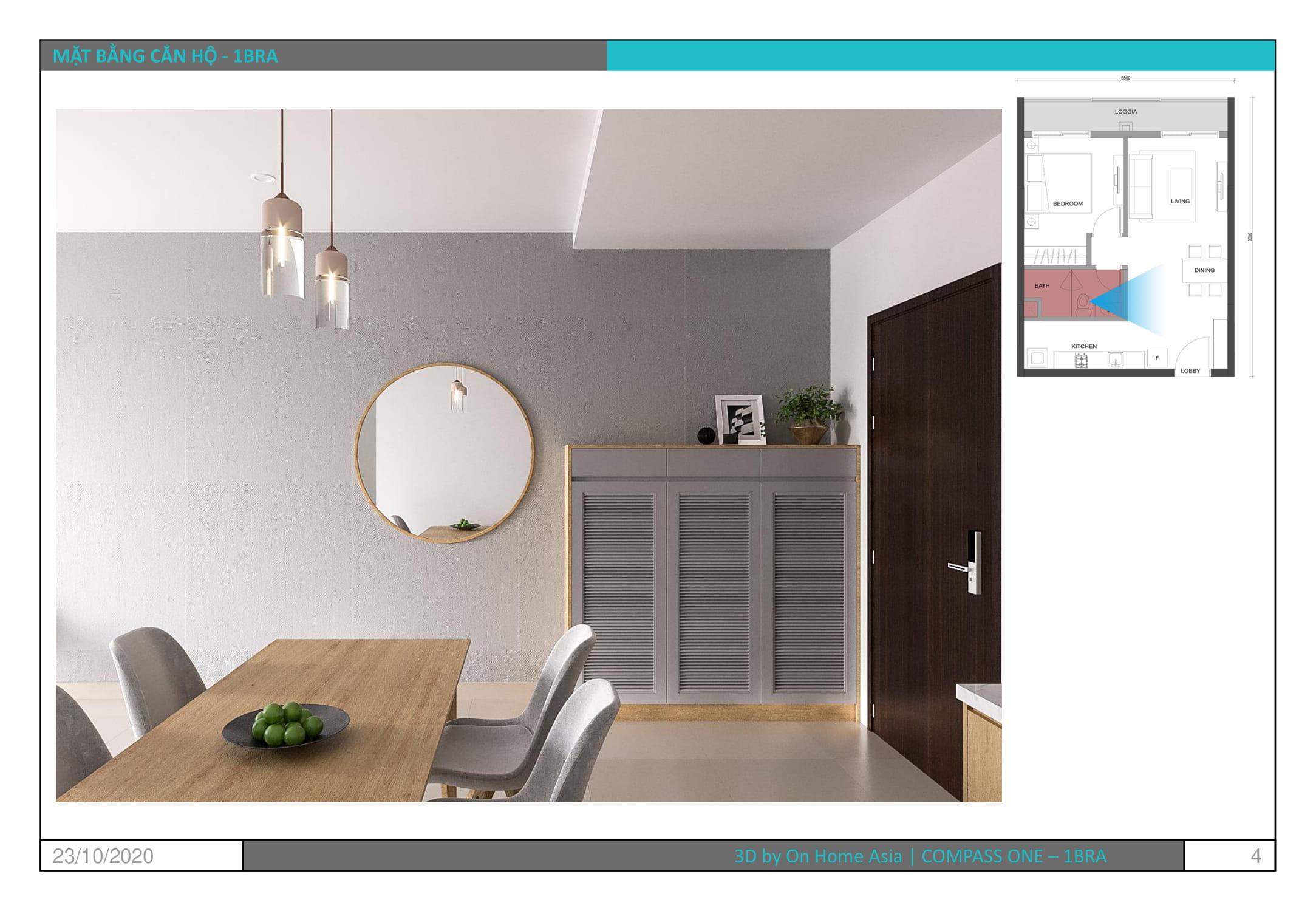 không gian nội thất phòng ăn căn hộ compass one mẫu 1bra