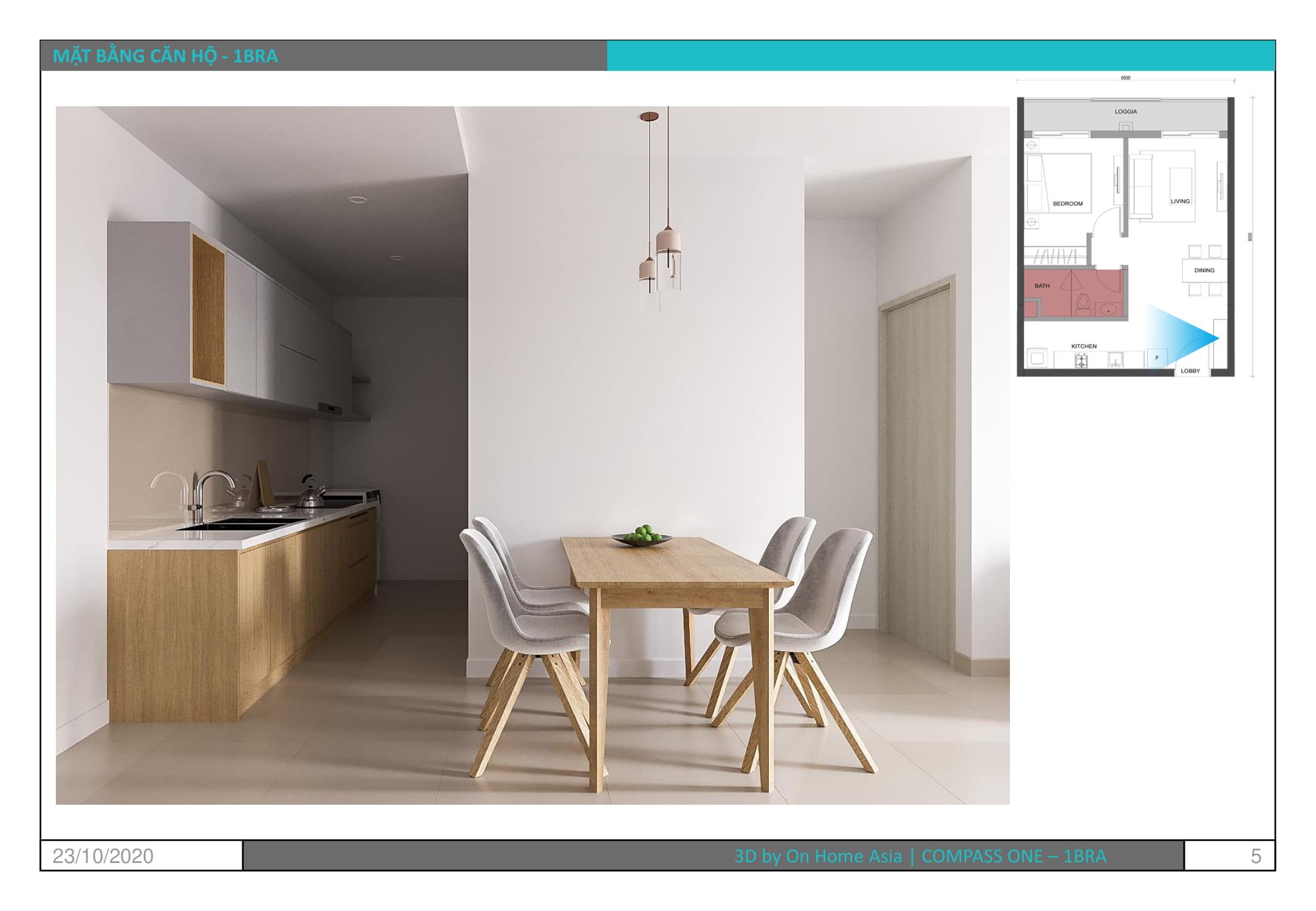 thiết kế nội thất phòng ăn căn hộ compass one 1pn