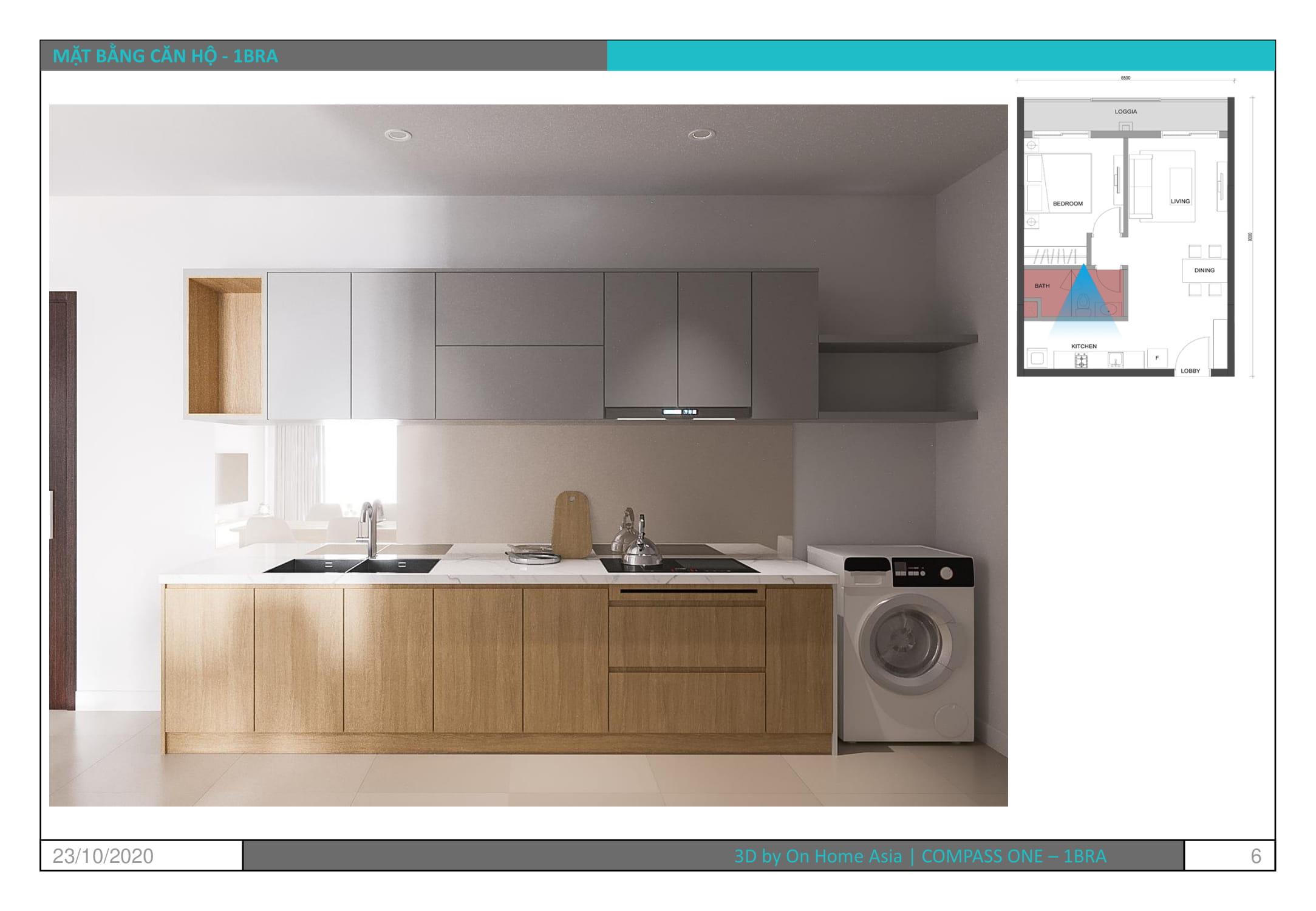 thiết kế nội thất nhà bếp căn hộ compass one 1pn