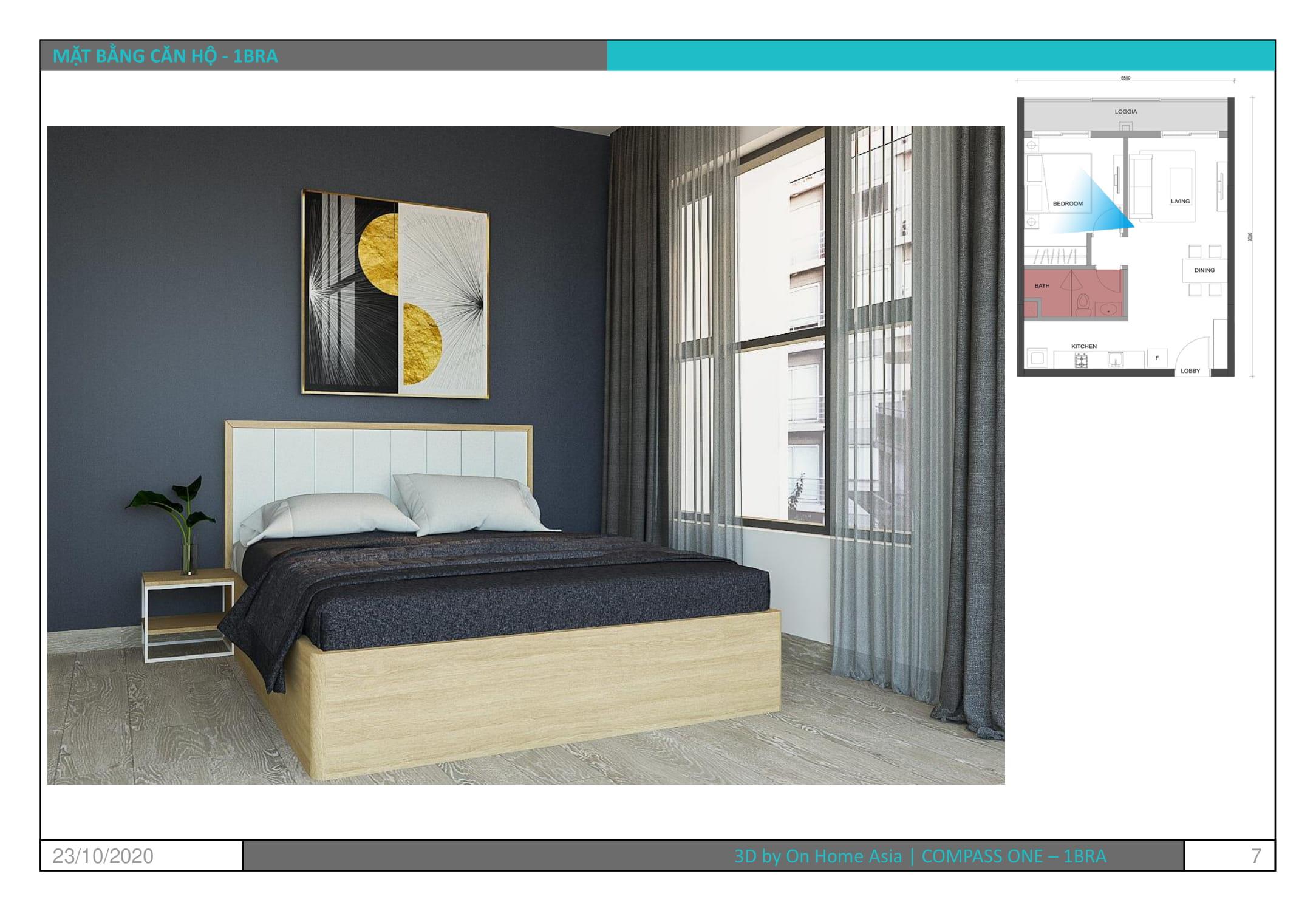 thiết kế nội thất phòng ngủ căn hộ compass one mẫu 1bra