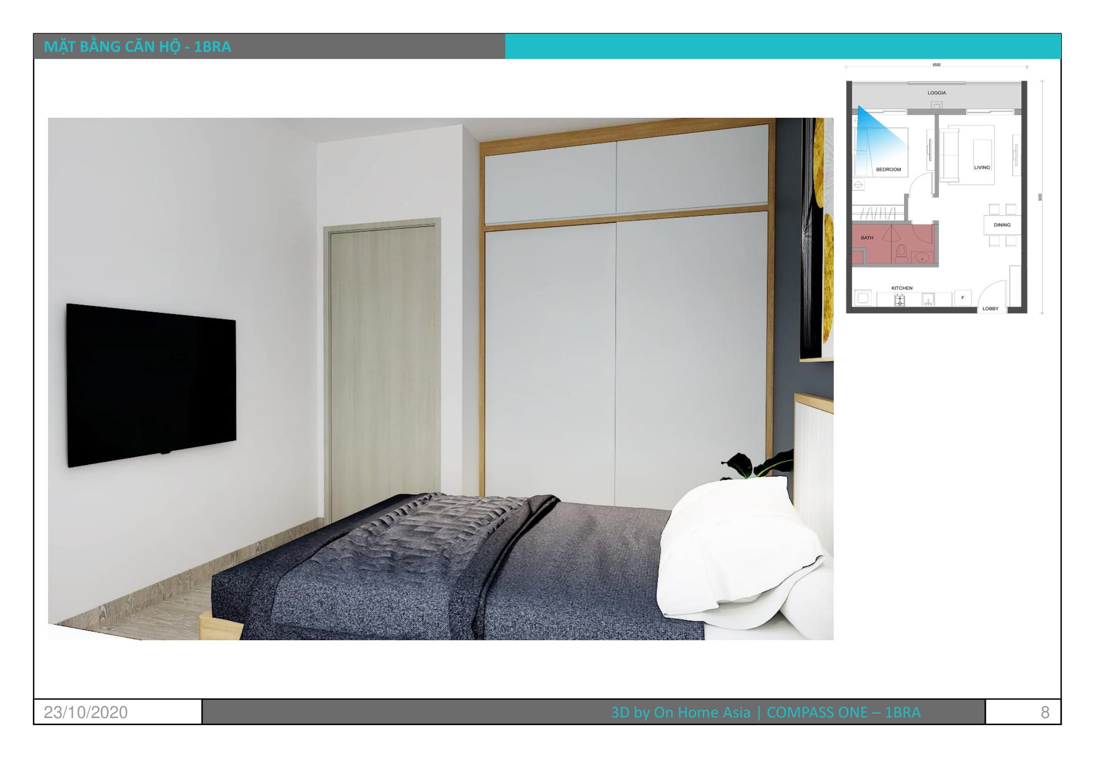 không gian nội thất phòng ngủ căn hộ compass one 1bra