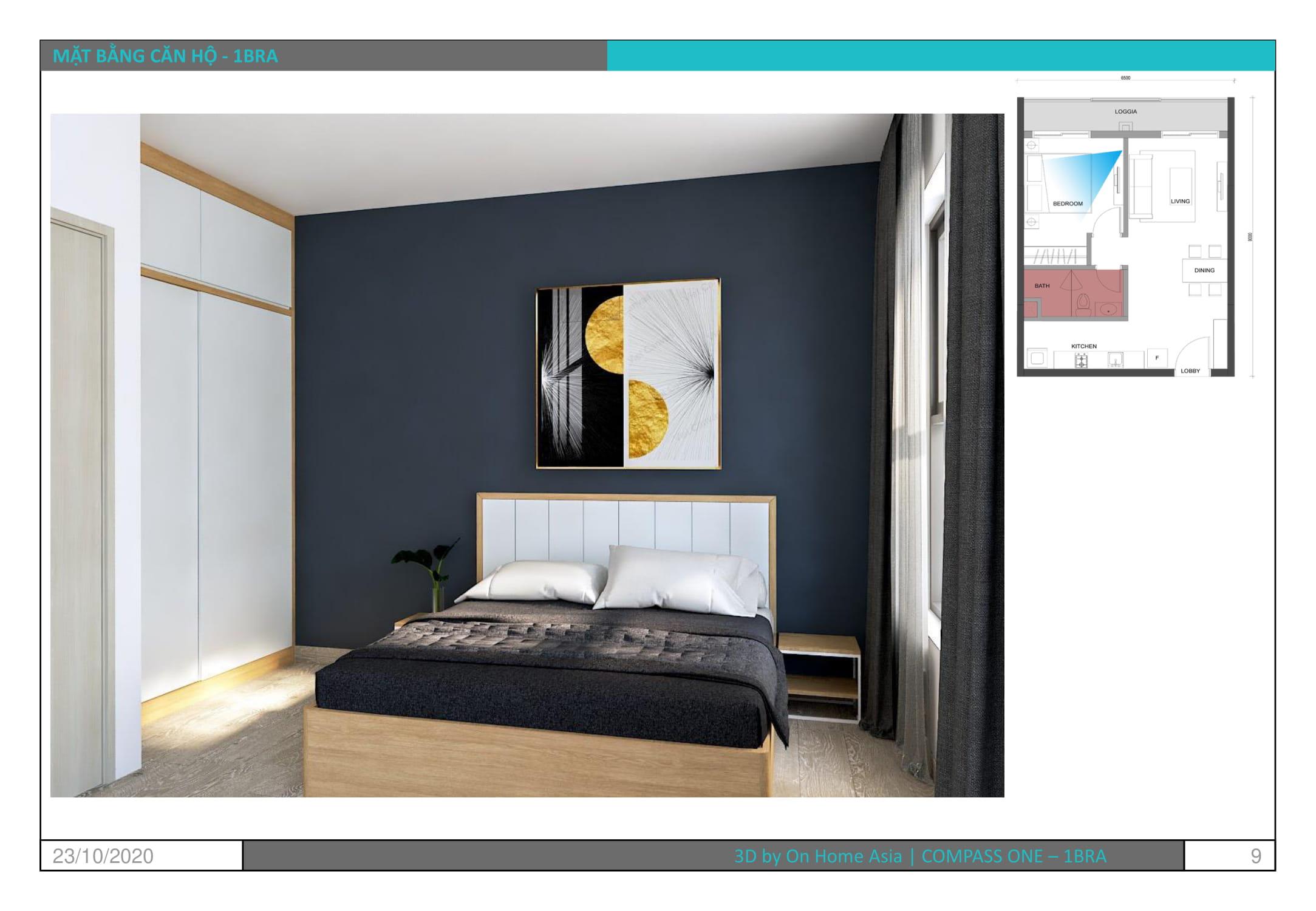 nội thất phòng ngủ căn hộ compass one mẫu 1bra