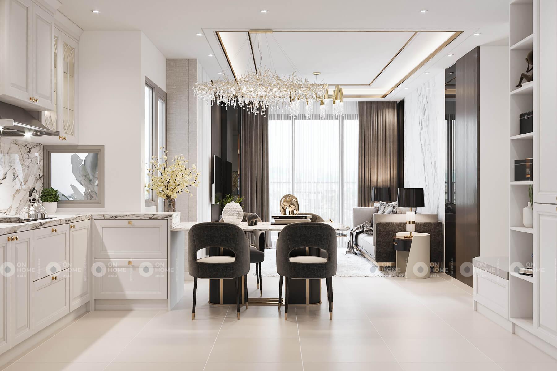 Thiết kế nội thất phòng bếp căn hộ Compass One