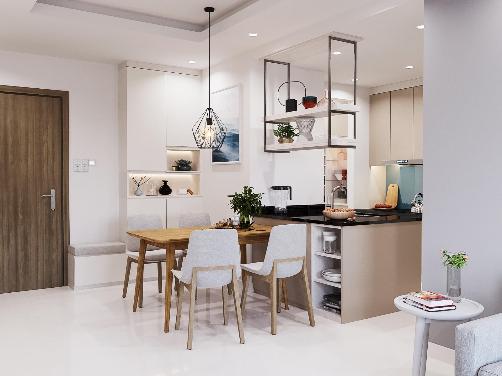 Thiết kế nội thất phòng bếp căn hộ the view