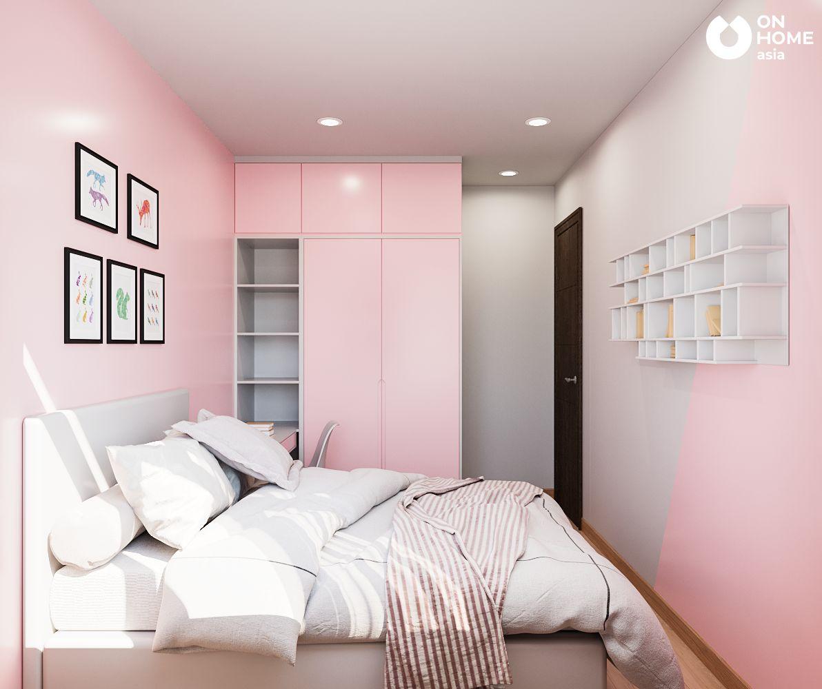phòng ngủ hồng căn hộ Habitat