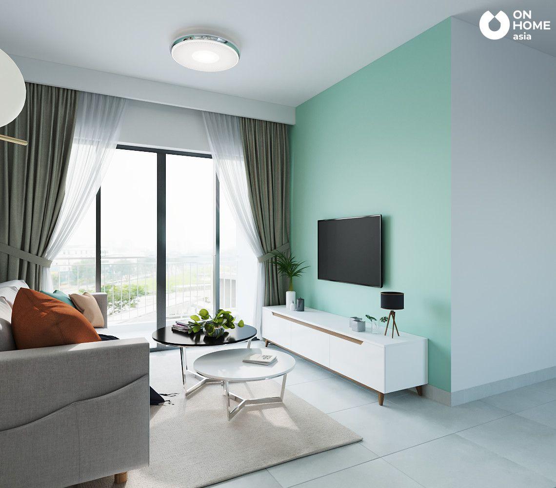 nội thất phòng khách căn hộ the habitat 3pn