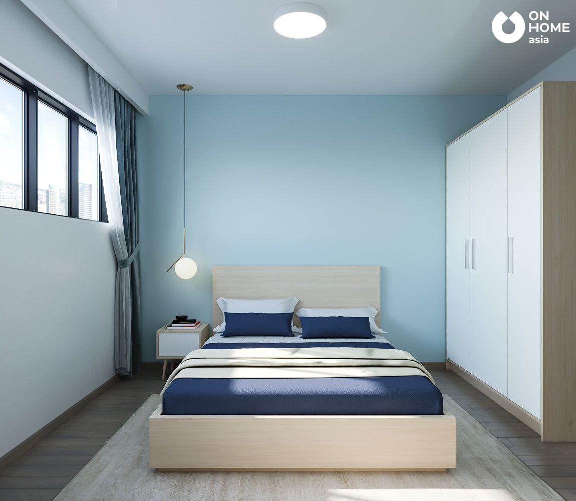 thiết kế nội thất phòng ngủ nhỏ căn hộ the habitat 3pn