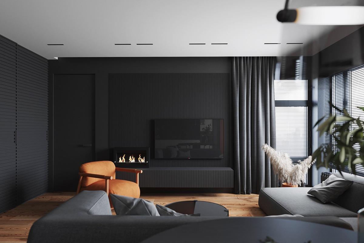 phòng khách căn hộ 1 phòng ngủ