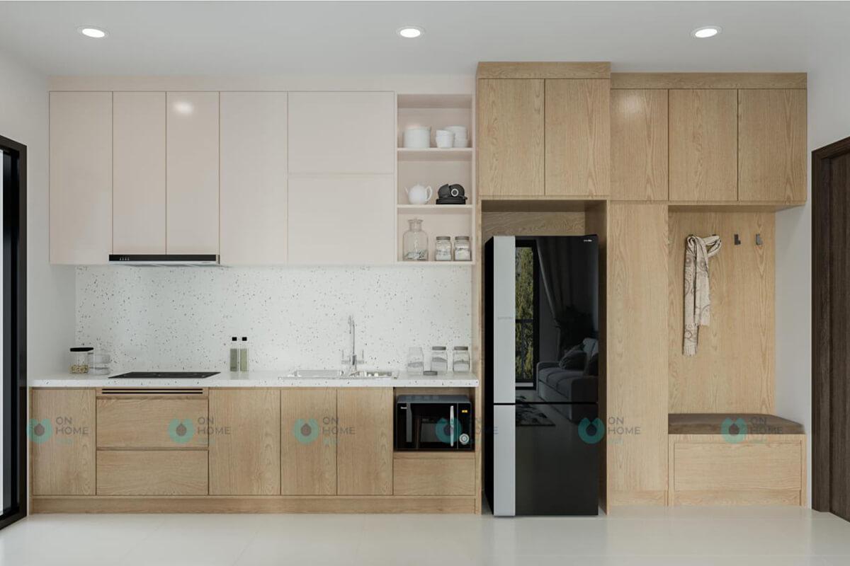thiết kế nội thất nhà bếp căn hộ compass one mẫu 2brc