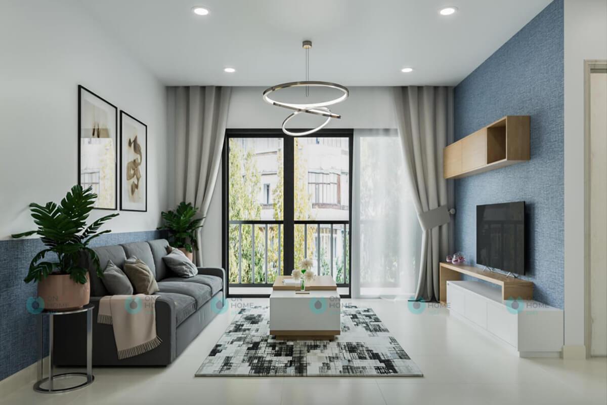 thiết kế nội thất phòng khách căn hộ compass one 2brc