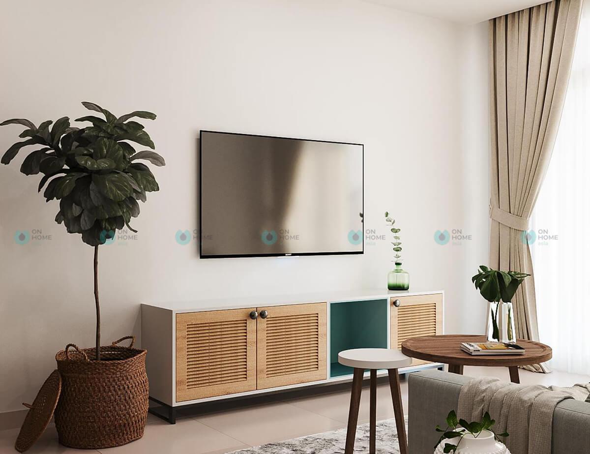 thiết kế nội thất phòng khách compass one mẫu 2bra
