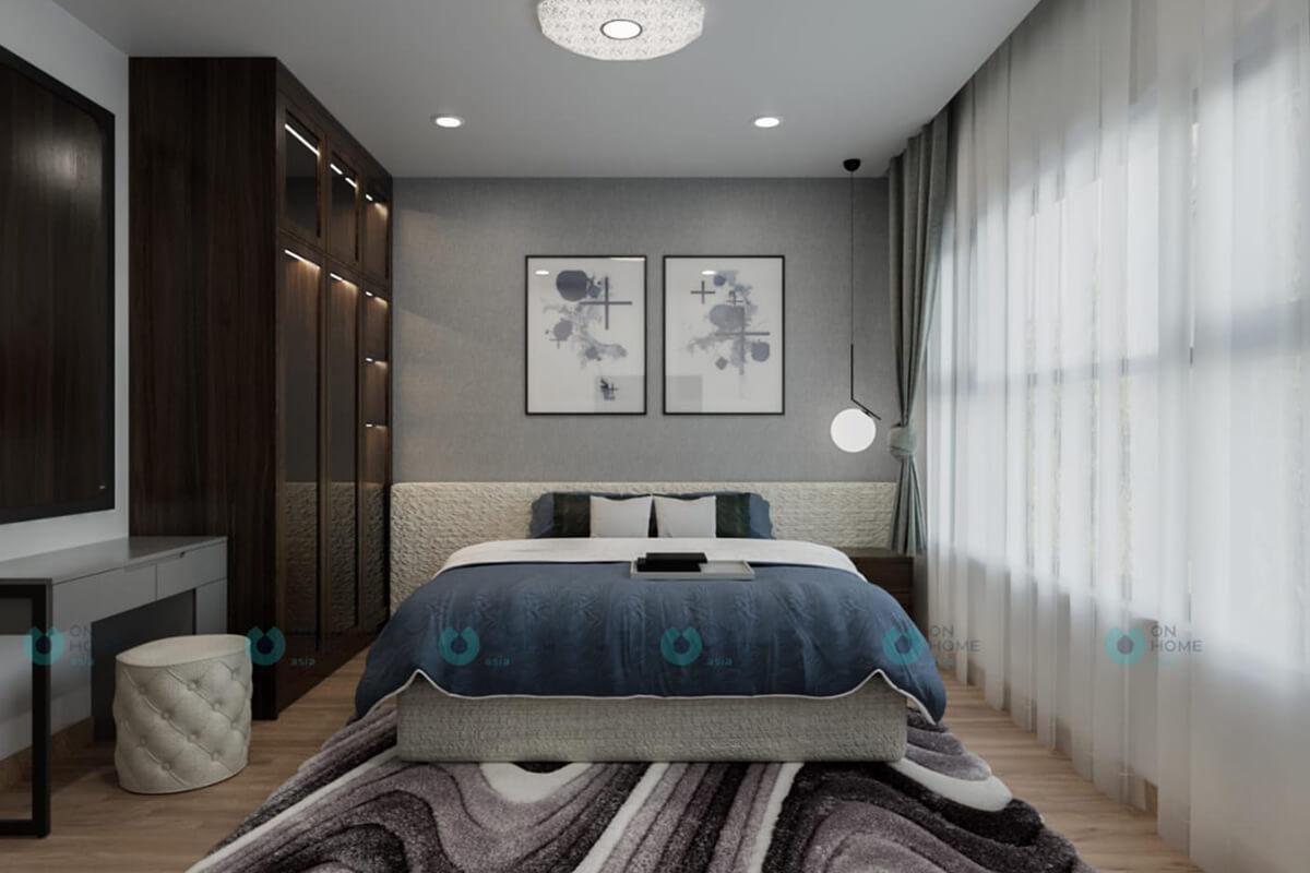 thiết kế nội thất phòng ngủ master căn hộ compass one 2brc