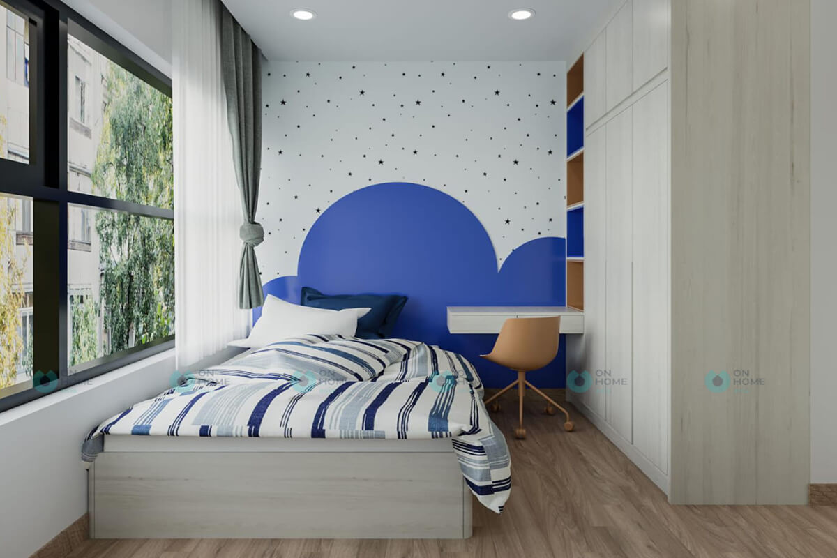 thiết kế nội thất phòng ngủ nhỏ căn hộ compass one 2brc