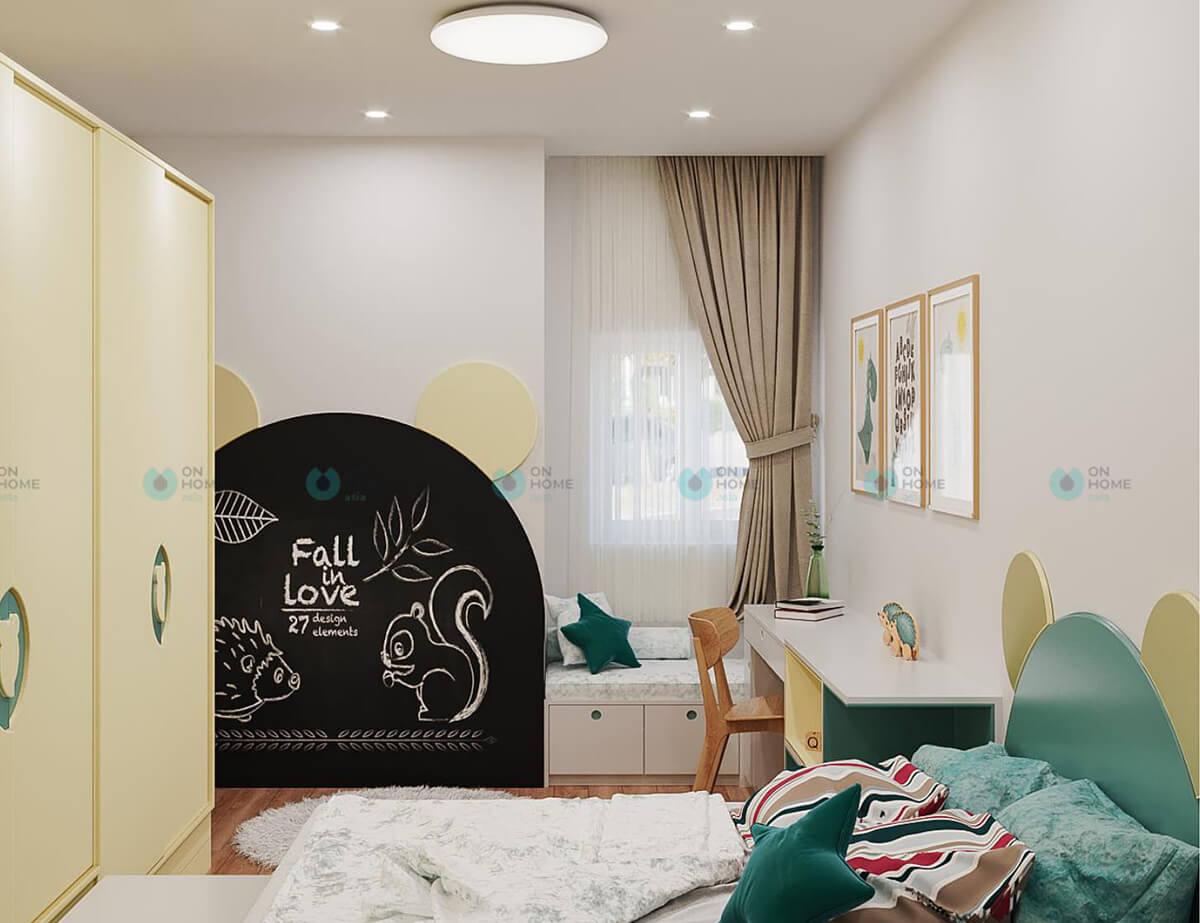thiết kế nội thất phòng ngủ nhỏ căn hộ compass one 2bra