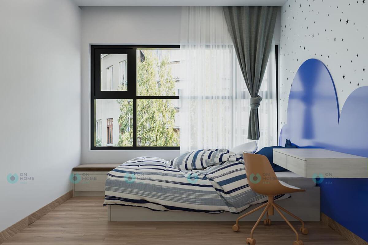 thiết kế phòng ngủ nhỏ căn hộ compass one 2brc