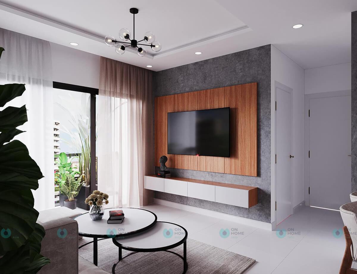 nội thất phòng khách căn hộ compass one 2brc cho thuê