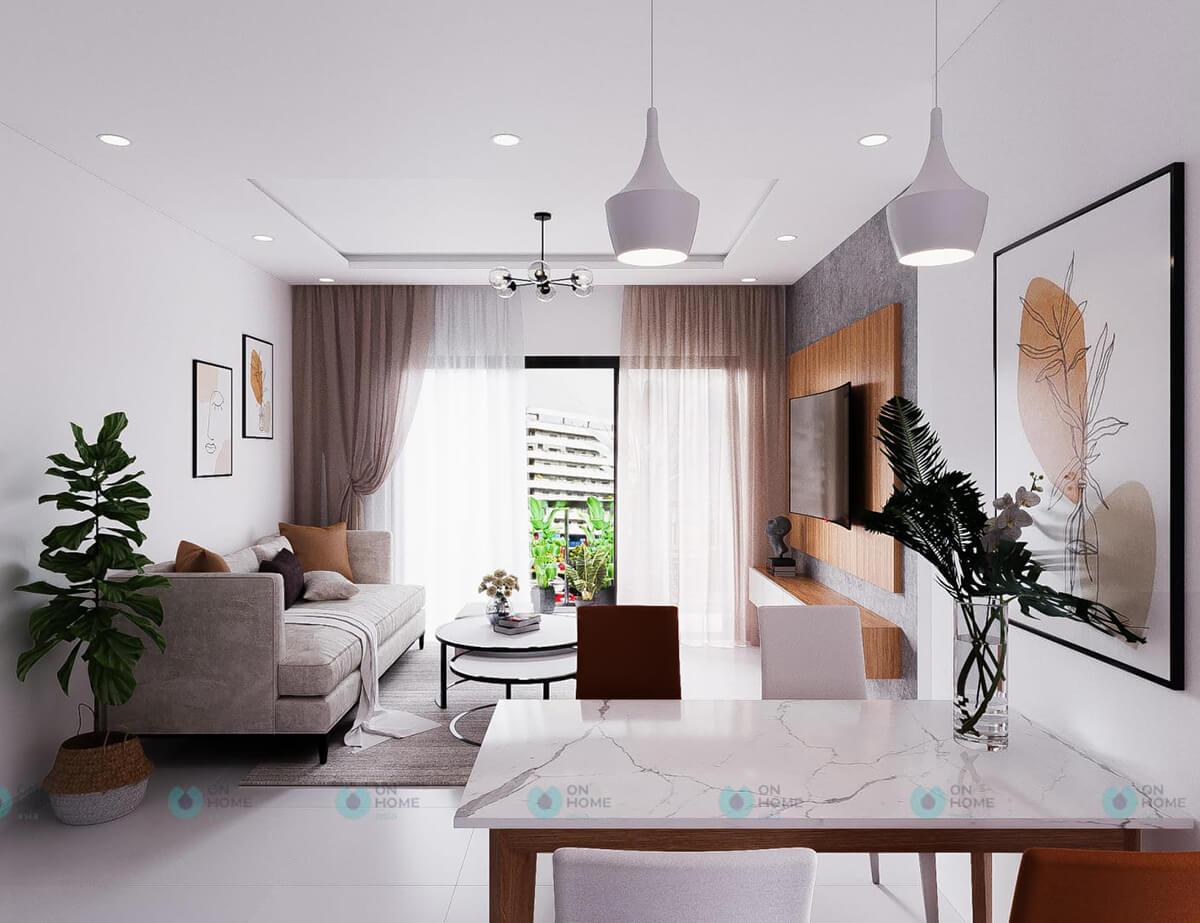 thiết kế nội thất phòng khách căn hộ compass one 2brc cho thuê