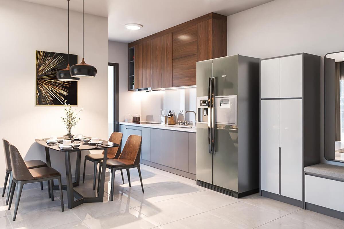 thiết kế nội thất nhà bếp căn hộ compass one căn 2brc