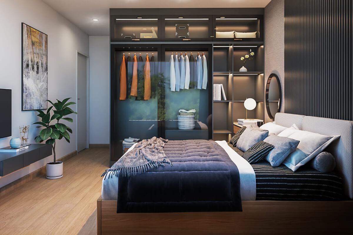 thiết kế nội thất phòng ngủ căn hộ compass one căn 2brc