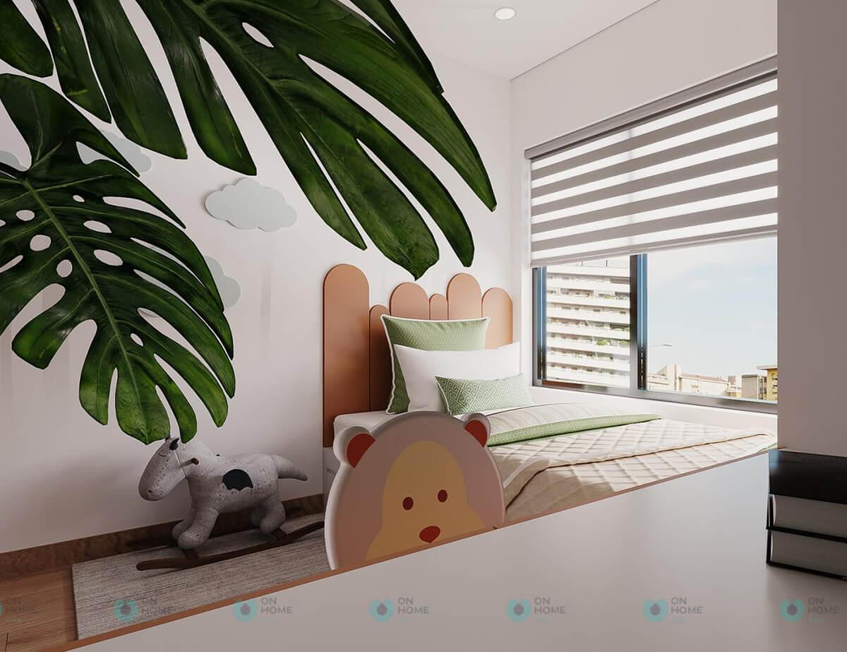 thiết kế nội thất phòng ngủ cho trẻ căn hộ compass one 2brc cho thuê