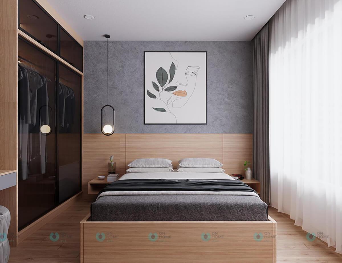 thiết kế nội thất phòng ngủ master compass one 2brc cho thuê