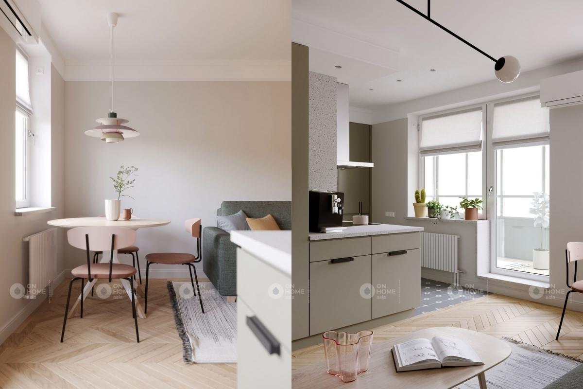Cửa sổ lớn kết hợp với không gian mở giúp phòng khách và bếp thông thoáng tuyệt đối