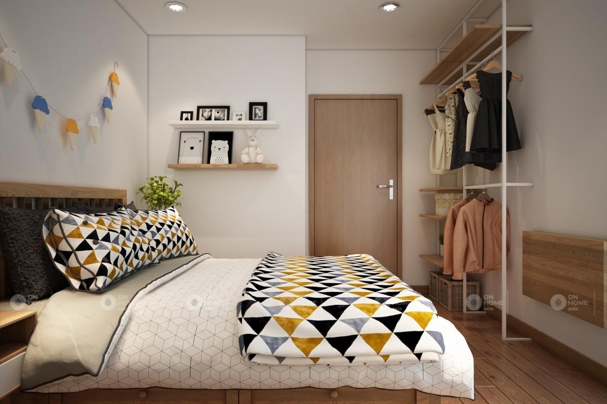 Phòng ngủ nhỏ trong thiết kế nội thất chung cư 100m2