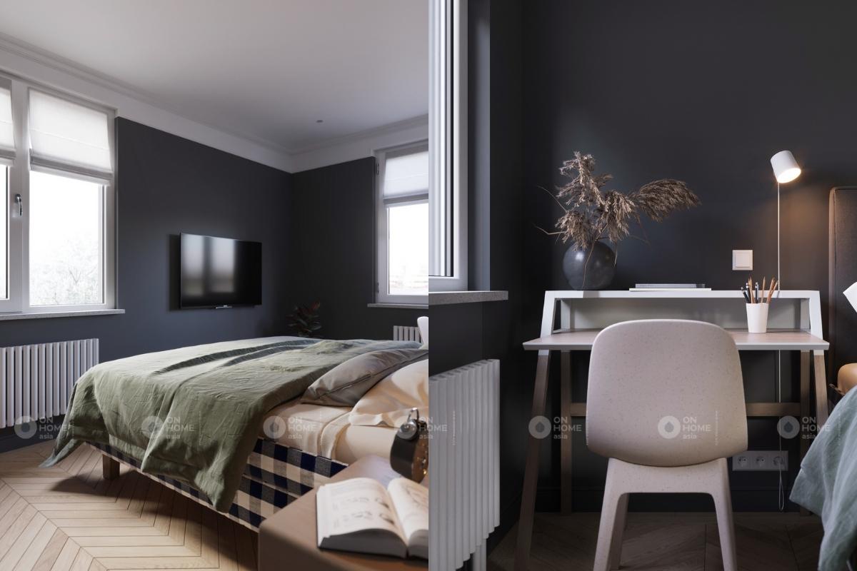 Không gian phòng ngủ tràn ngập ánh sáng tự nhiên với 2 cửa sổ lớn