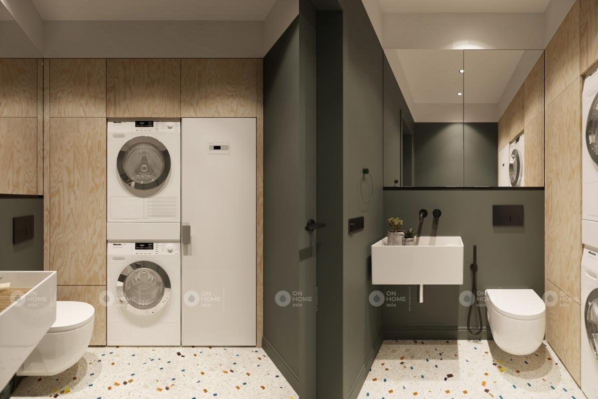 Phòng giặt có đầy đủ thiết bị điện máy cao cấp