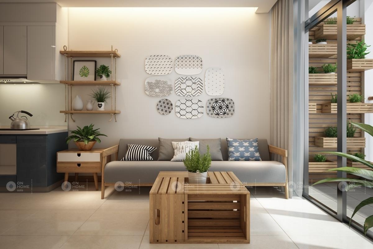 Phòng khách căn hộ 100m2 phong cách Bắc Âu