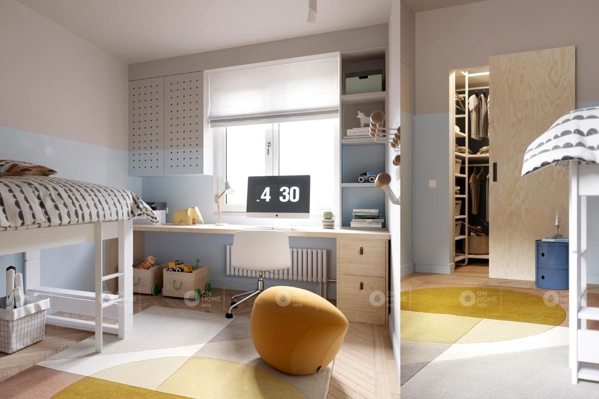 Phòng ngủ cho bé gái đậm chất Scandinavian với màu sắc tươi sáng