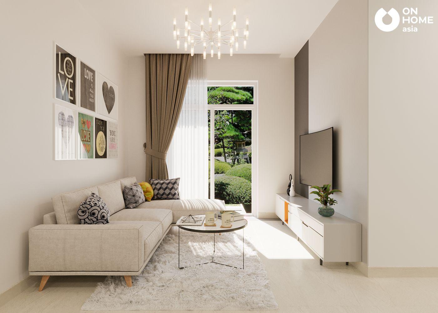 thiết kế nội thất phòng khách căn hộ 95m2