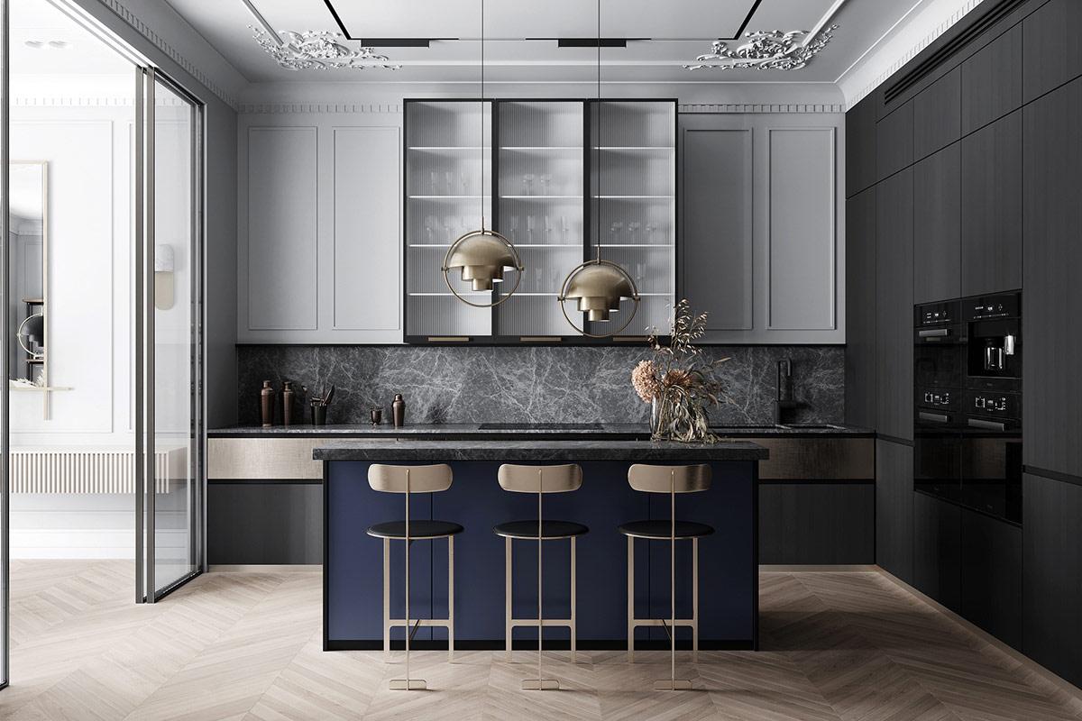 Thiết kế bếp tân cổ điển sang trọng với nội thất mạ ánh vàng