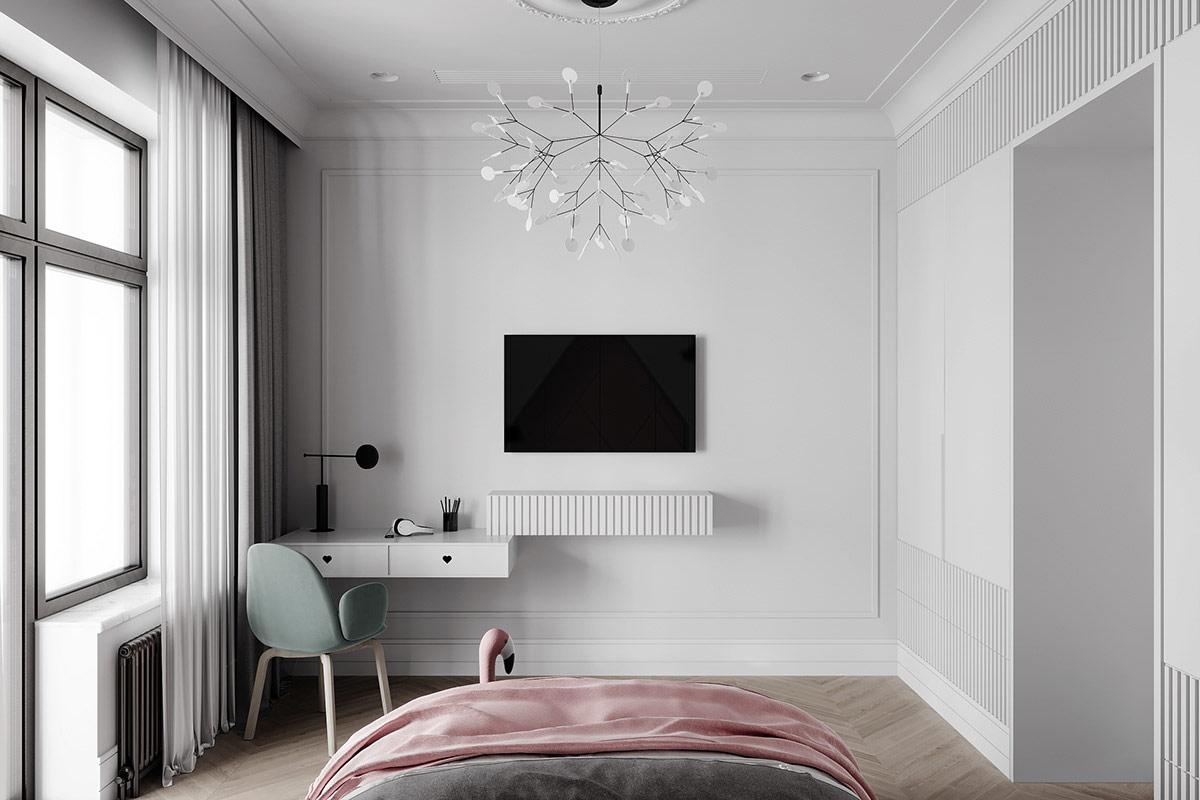 Thiết kế nội thất phòng ngủ gọn gàng nhưng không làm mất vẻ đẹp tân cổ điển