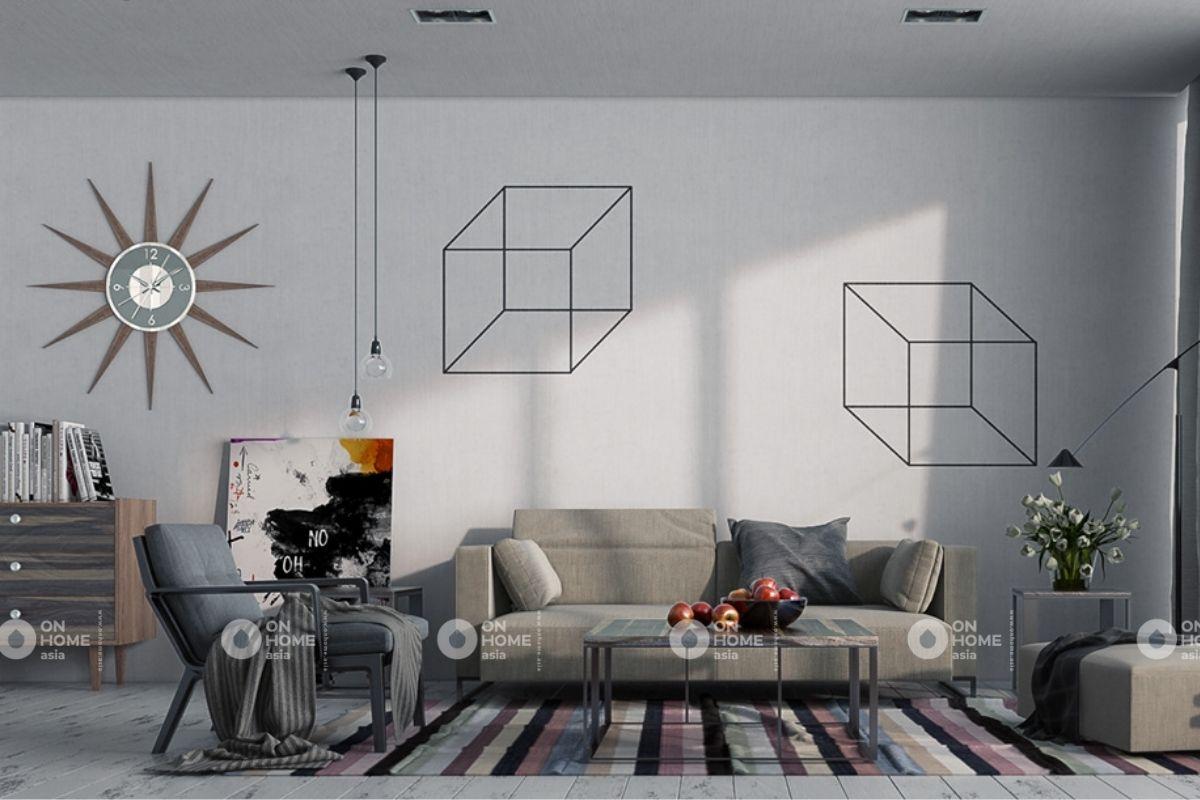 Phòng khách căn hộ 70m2 phong cách hiện đại