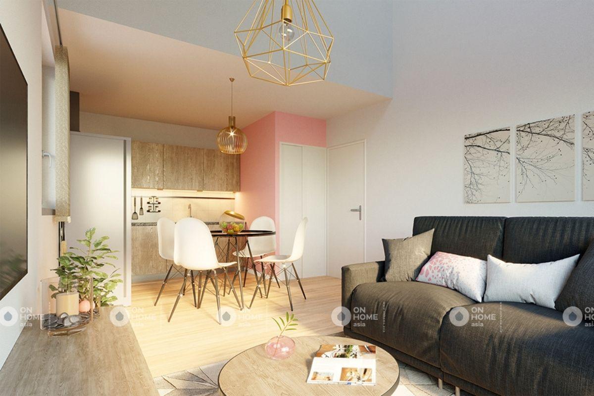 Phòng khách căn hộ 70m2 phong cách tối giản