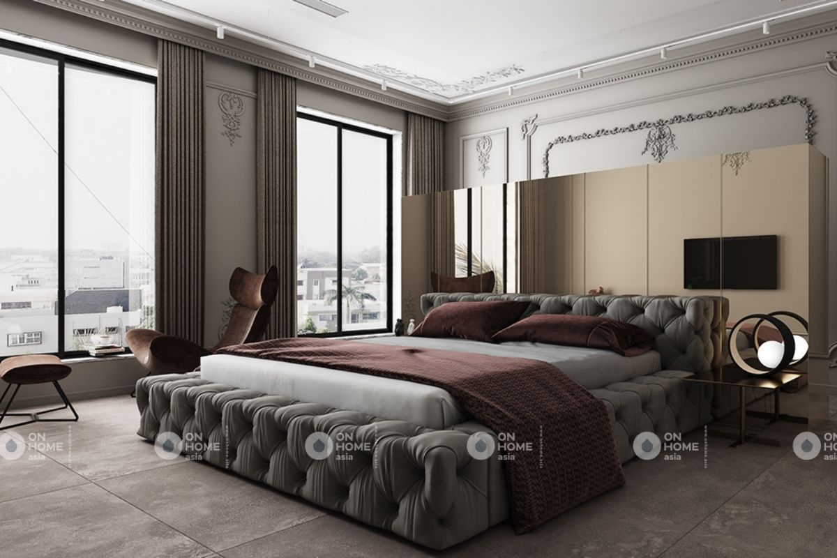 Nội thất phòng ngủ chung cư 70m2 phong cách cổ điển
