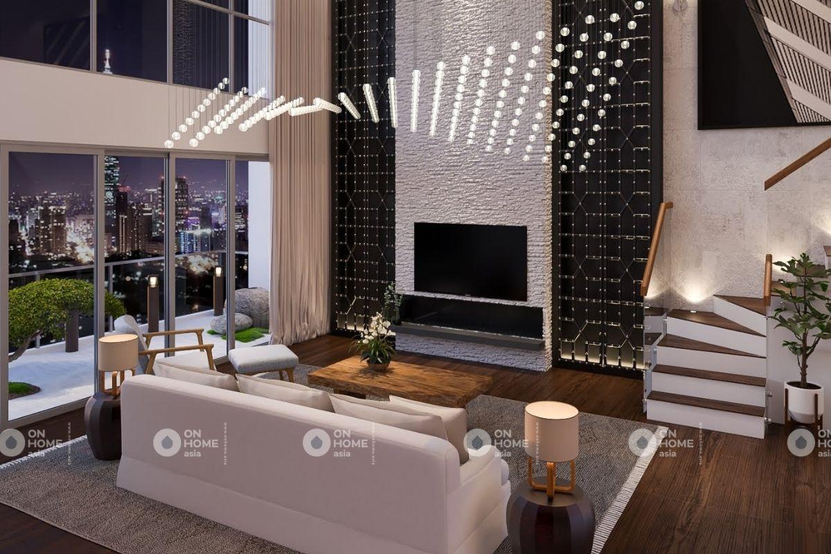 Không gian phòng khách chung cư 70m2 tân cổ điển cực đẹp