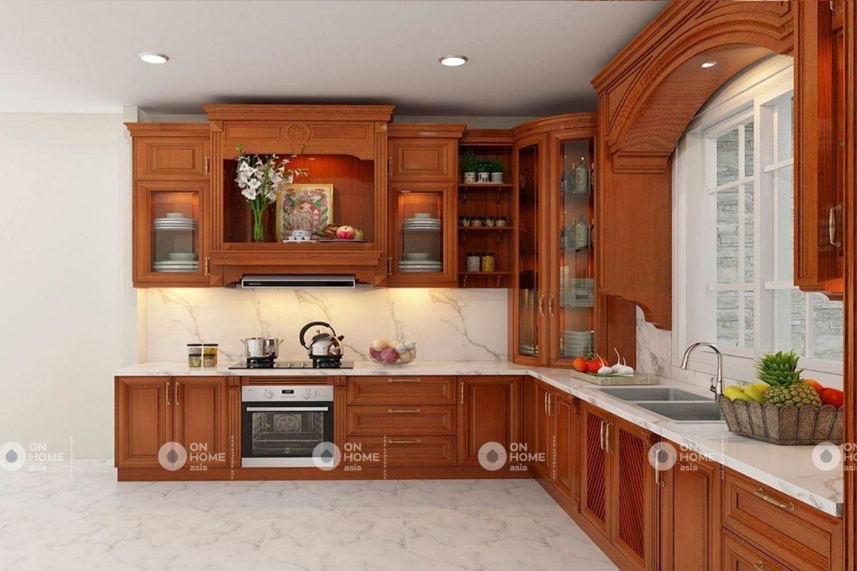 Nội thất bếp sử dụng chất liệu gỗ