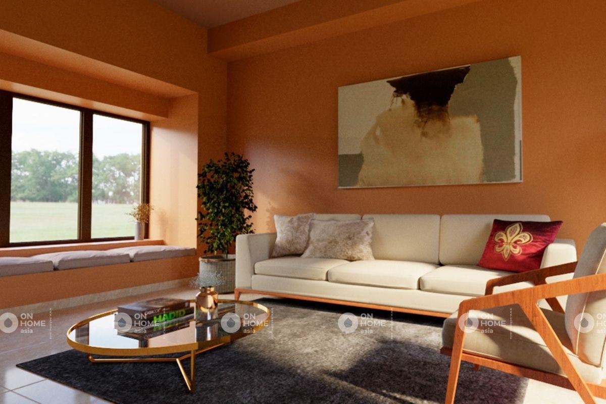 Không gian phòng khách căn hộ 70m2 phong cách tối giản
