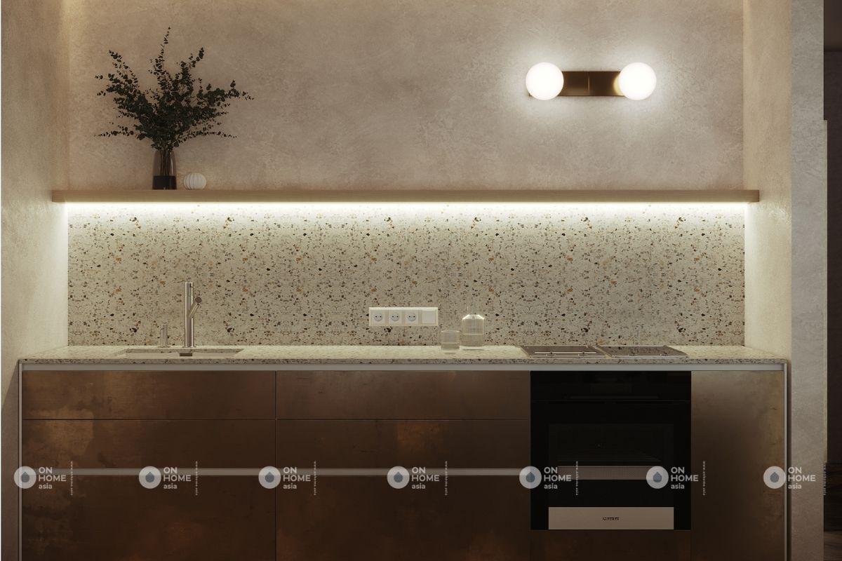 nội thất nhà bếp khi lên đèn