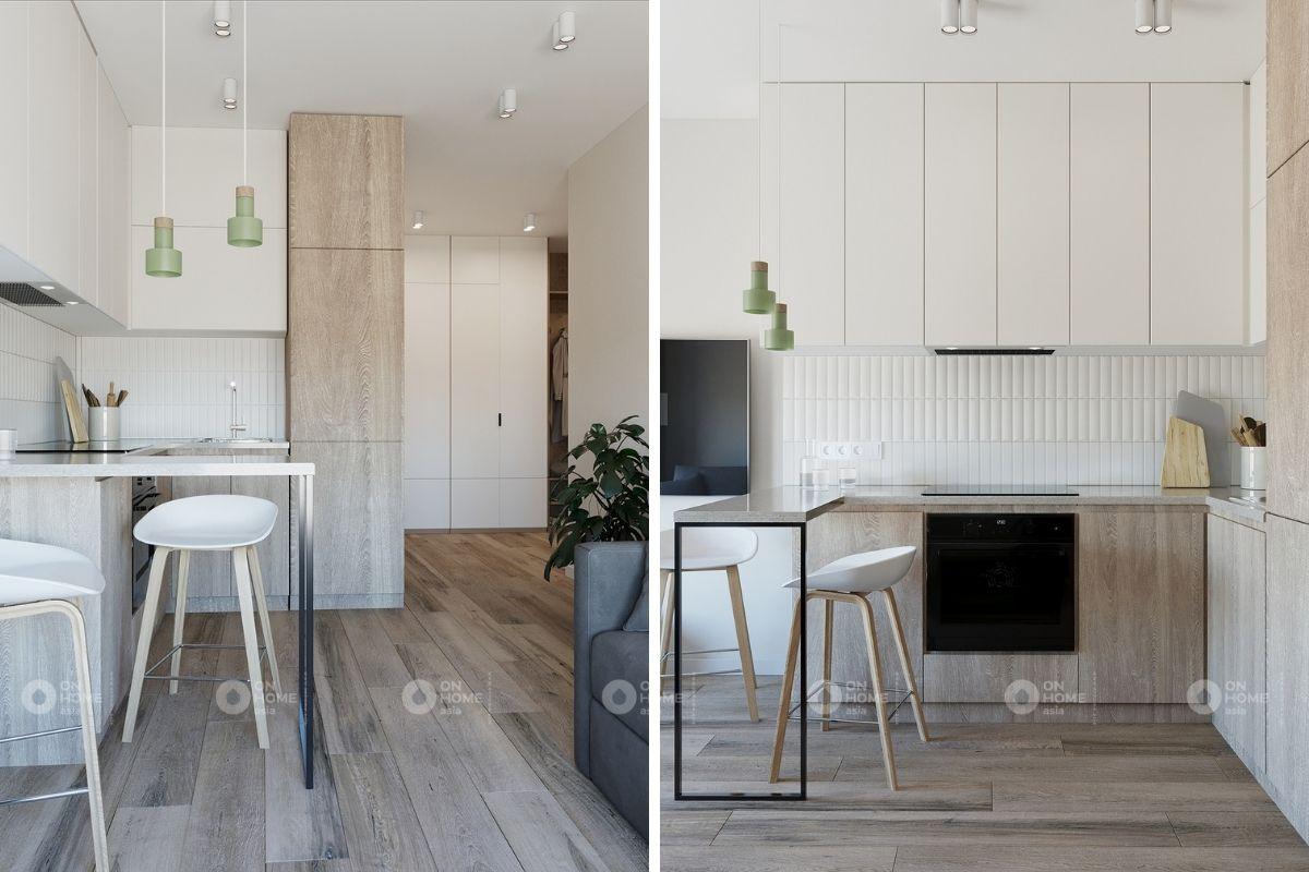 không gian bếp cho căn hộ 45m2