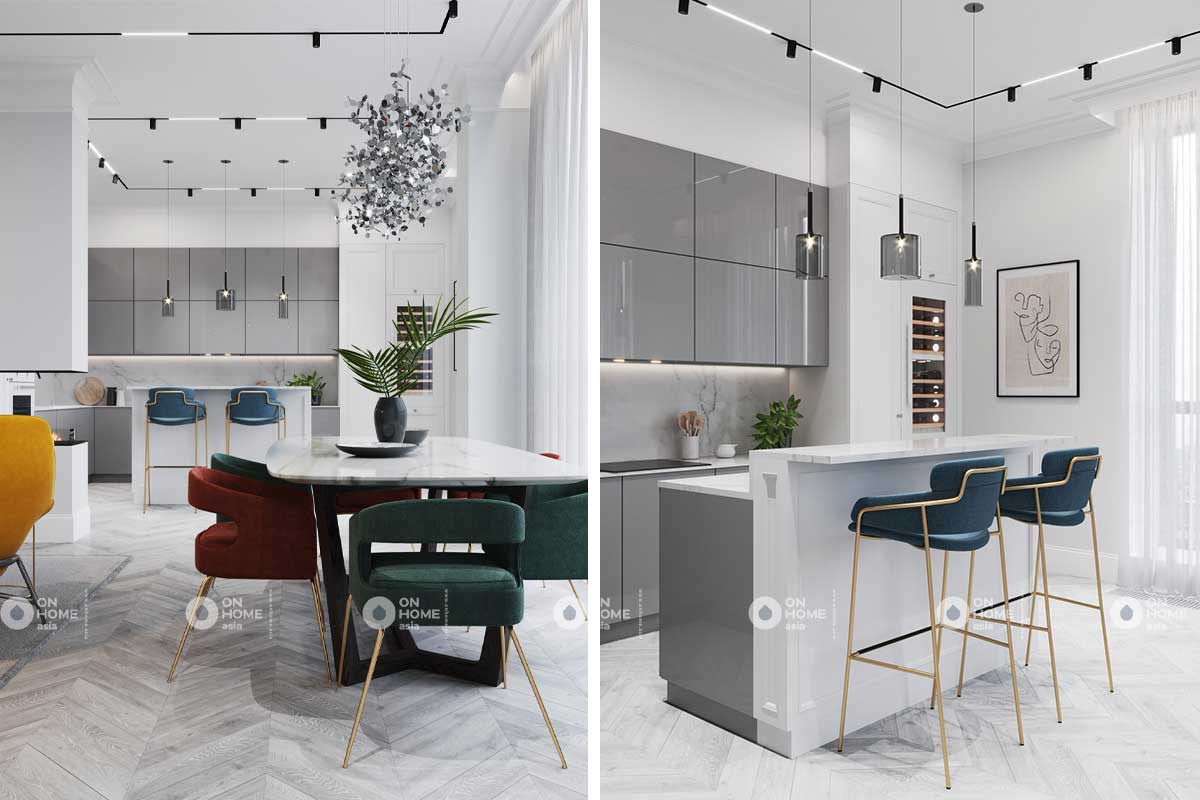 Phòng bếp căn hộ tân cổ điển